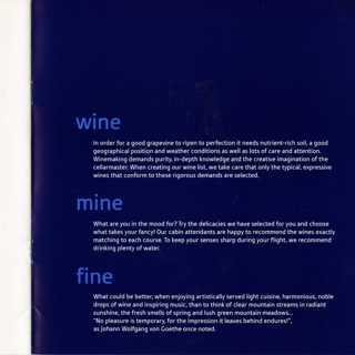 menu: Austrian Airlines, First Class