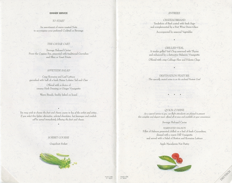 menu: American Airlines, First Class