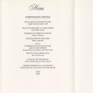 menu: SAS (Scandinavian Airlines System), EuroClass