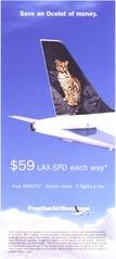 brochure: Frontier Airlines, Los Angeles - San Francisco