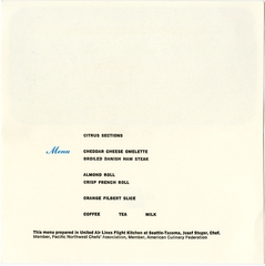menu: United Air Lines, Blue Carpet (Economy) Class