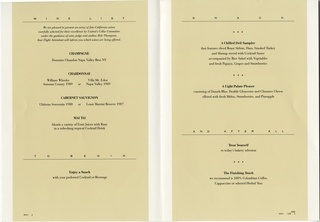 menu: United Airlines, First Class