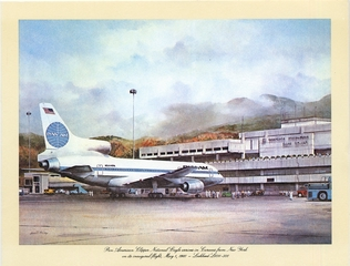 aircraft promotional print: Pan American World Airways, Clipper National Eagle, Lockheed L-1011-500 TriStar