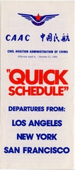 timetable: CAAC (Civil Aviation Administration of China), Quick Schedule