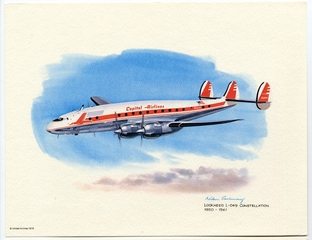 promotional aircraft print: United Airlines, Capital Airlines, Lockheed L-049 Constellation