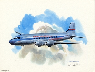 promotional aircraft print: United Airlines, Douglas DC-4, 1946-1957