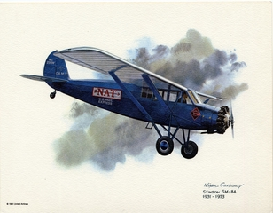 promotional aircraft print: United Airlines, Stinson SM-8A Junior, 1931-1933
