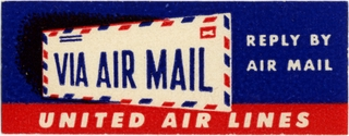 airmail courtesy label: United Air Lines