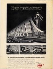 advertisement: TWA (Trans World Airlines), Dulles International Airport