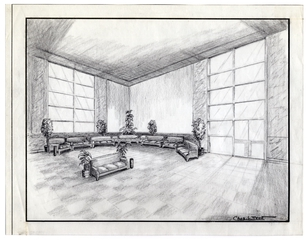 architectural drawing: San Francisco International Airport (SFO), Lobby Area Seating