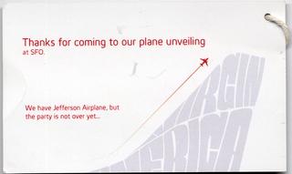 special event tag: Virgin America, San Francisco International Airport (SFO)