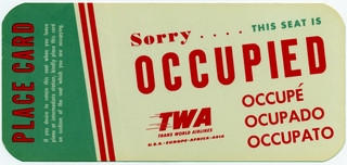 seat occupied card: TWA (Trans World Airlines)