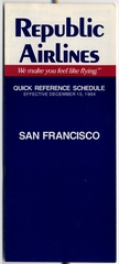 timetable: Republic Airlines, quick reference, San Francisco