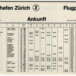 timetable: Zurich Airport (Flughafen Zurich)