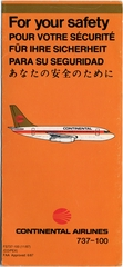 safety information card: Continental Airlines, Boeing 737-100