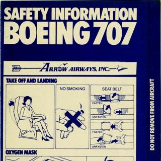 safety information card: Arrow Airways, Boeing 707