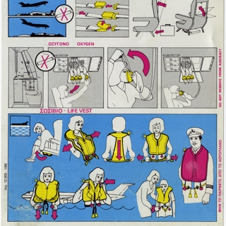 safety information card: Olympic Airways, Boeing 727