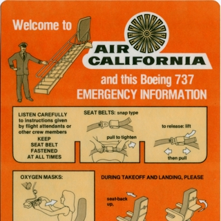 safety information card: Air California, Boeing 737