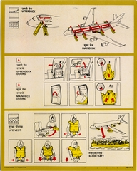 safety information card: Air India, Boeing 747