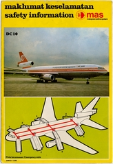 safety information card: Malaysian Airline System (MAS), McDonnell Douglas DC-10