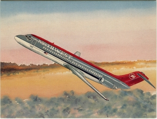 greeting card: Northwest Airlines, Douglas DC-9