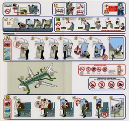 safety information card: Frontier Airlines, Airbus A318 and A319