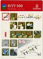 safety information card: Emirates, Boeing 777-300