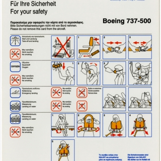 safety information card: Galaxy Airways, Boeing 737-500