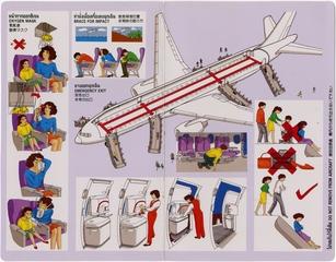 safety information card: Thai Airways International, Boeing 777-200