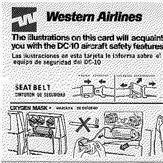 safety information card: Western Airlines, McDonnell Douglas DC-10
