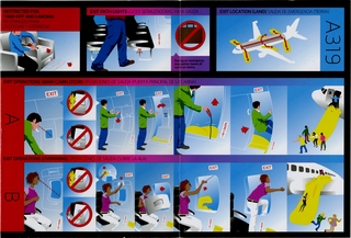 safety information card: Virgin America, Airbus A319