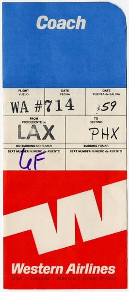 ticket jacket: Western Airlines