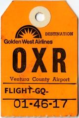 baggage destination tag: Golden West Airlines