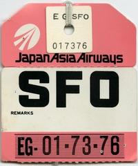 baggage destination tag: Japan Asia Airways, San Francisco International Airport (SFO)