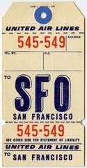 baggage destination tag: United Air Lines, San Francisco International Airport (SFO)