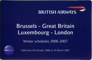 pocket timetable: British Airways, winter schedule