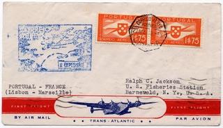 airmail flight cover: Pan American Airways, FAM-18, first airmail flight, Lisbon - Marseilles route