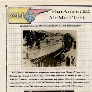 airmail flight cover text: Pan American World Airways, airmail test