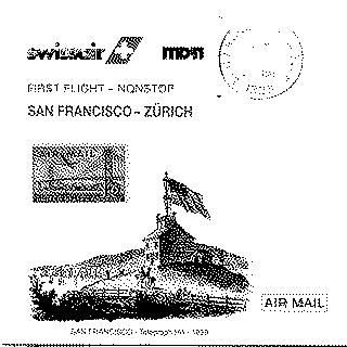 airmail flight cover: United States Air Mail, Swissair