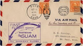 airmail flight cover: Pan American Airways, Fourth Pacific survey flight, San Francisco - Guam route