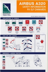 safety information card: Silk Air, Airbus A320