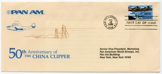 airmail flight cover: Pan American World Airways, 50th anniversary of China Clipper