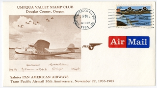 airmail flight cover: Umpqua Valley Stamp Club, Pan American World Airways, 50th anniversary of transpacific airmail