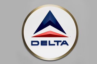 ticket counter sign: Delta Air Lines