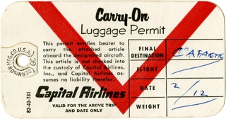 baggage claim tag: Capital Airlines