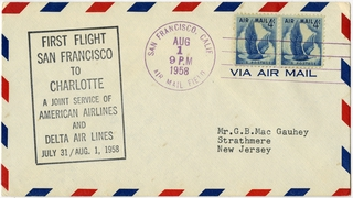 airmail flight cover: American Airlines, Delta Air Lines, Joint service, San Francisco - Charlotte route