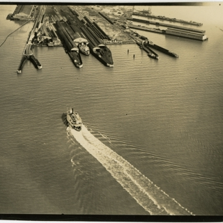 photograph: San Francisco Bay Area aerial, ferry boat and port, Oakland