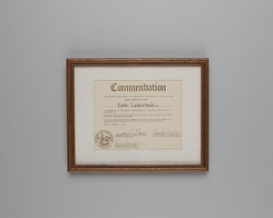 certificate of merit: San Mateo County Board of Supervisors and the Advisory Council on Women, Edith Lauterbach