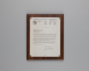 letter of recognition: American Federation of Labor and Congress of Industrial Organizations, Edith Lauterbach