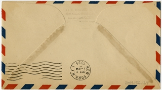airmail flight cover: Los Angeles - New York route
